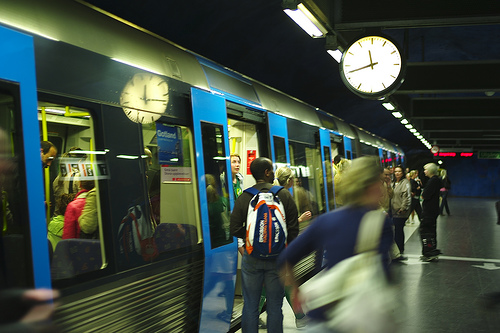 Frozen in Transit, flickrfan, leica m8, action, 35mm, f1.4, subway, available light, summilux, stockholm, sweden, blur, reflections, clock, stillness, art, 1000+ views, explore, 1000+ views set, views, transportation, train, people, station,photo by Bill Liao on FlickrFan Stan's site licensed under Creative Commons